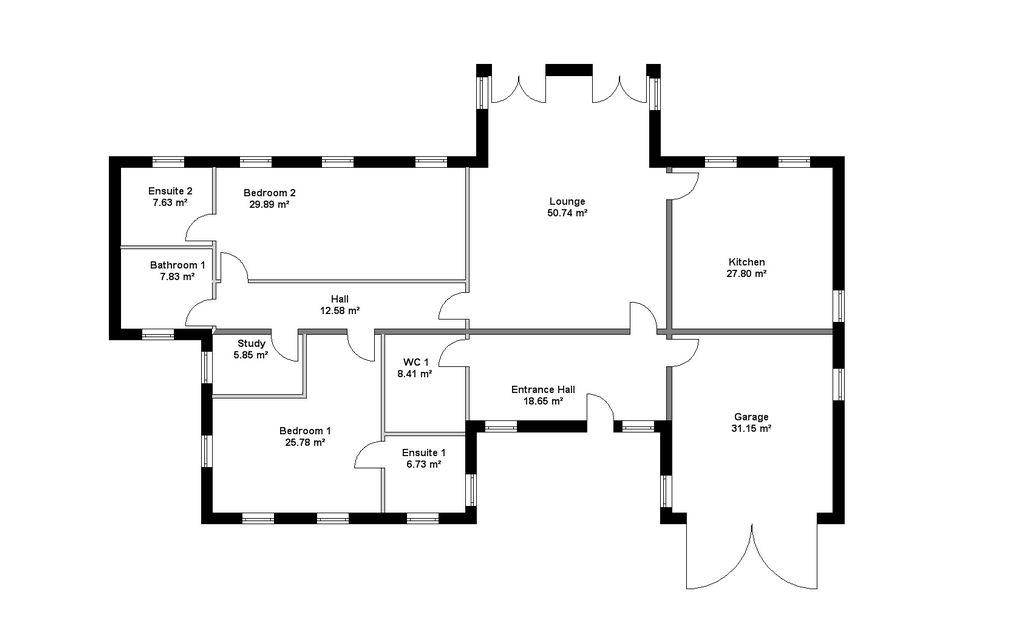 Visual Building berechnet automatisch die Wohnflächen für jeden Raum