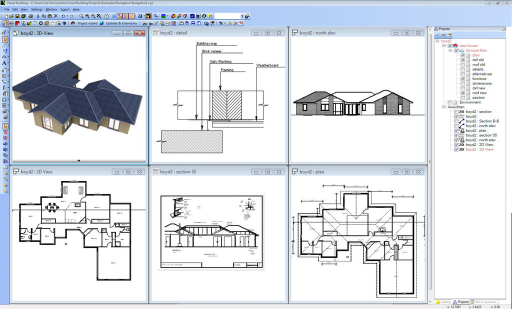 Visual building premium Software for house construction plan