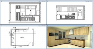 Kitchen Design with 3D view, 2D elevations