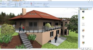 Building showing functions of 3D modelling, merged roofs, etc.