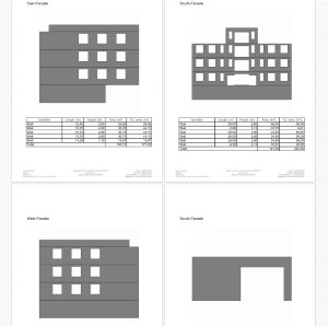 Extended area calculation and export as PDF, Excel, RTF... . Example with facades