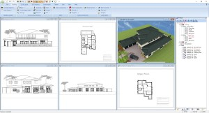 Project with multiple roofs and 3D constructions