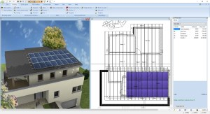 Roof mounted solar panels, 3D and 2D view