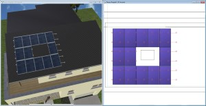 Solar plant with cutout area