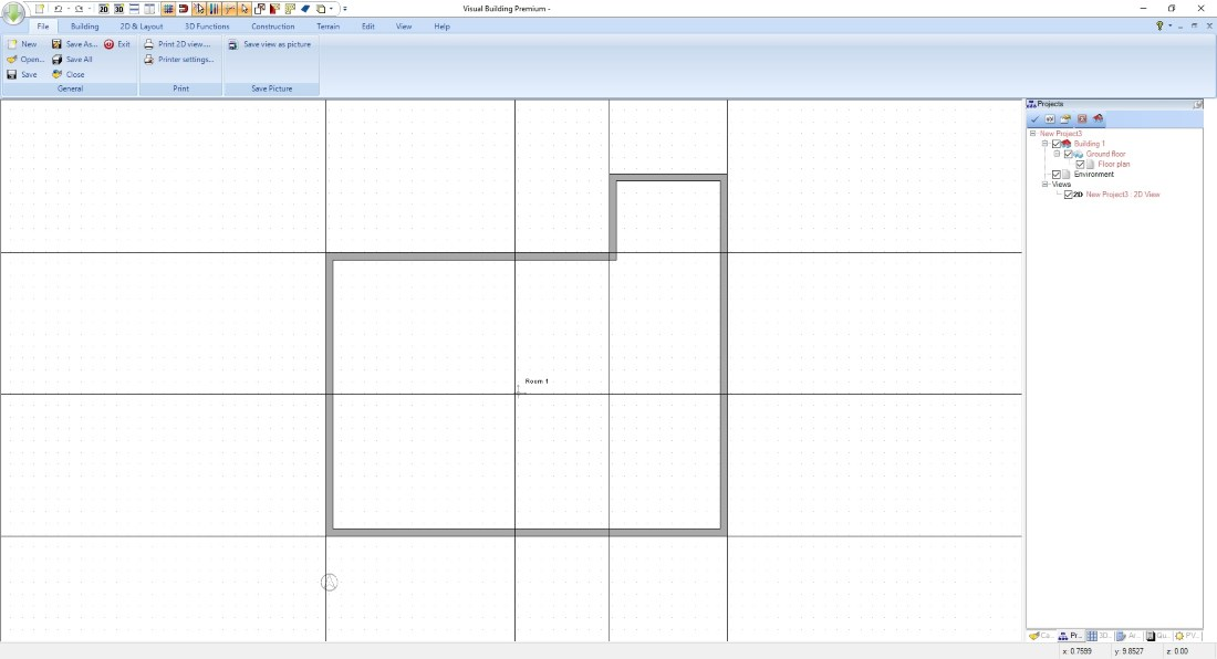 Create Floor Plan - Building contour with 2D guidelines