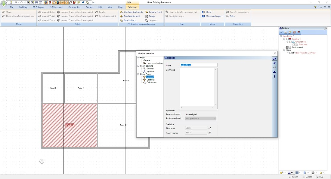 Create Floor Plan - Create and label rooms