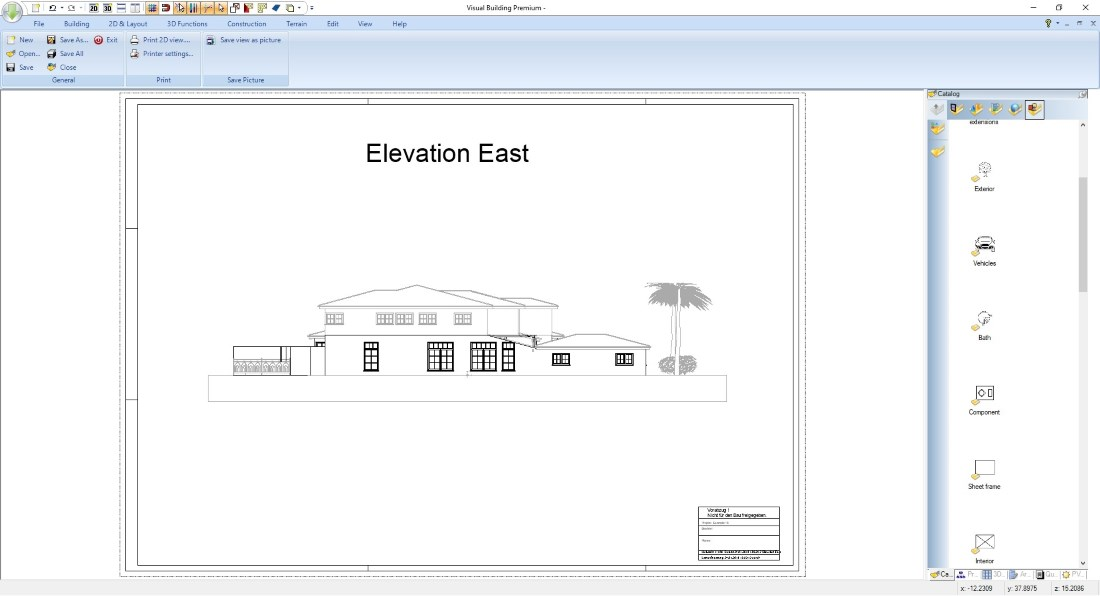 Elevation view in Visual Building