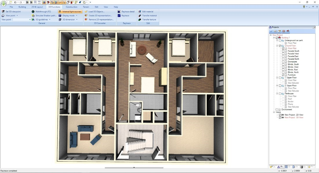 3D Floor Plan top view