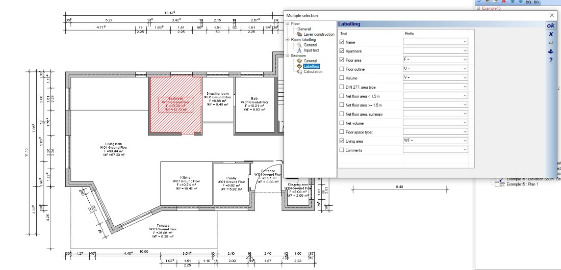 Floor plans automatic area calculation