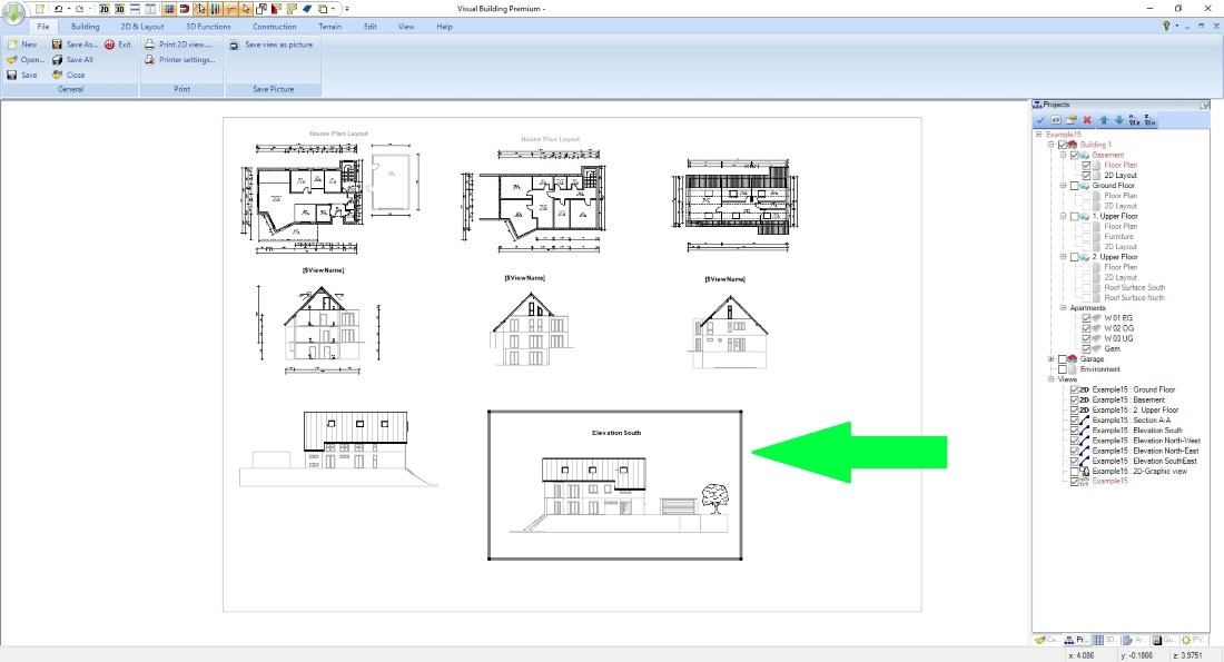 House plans, select and edit plan parts