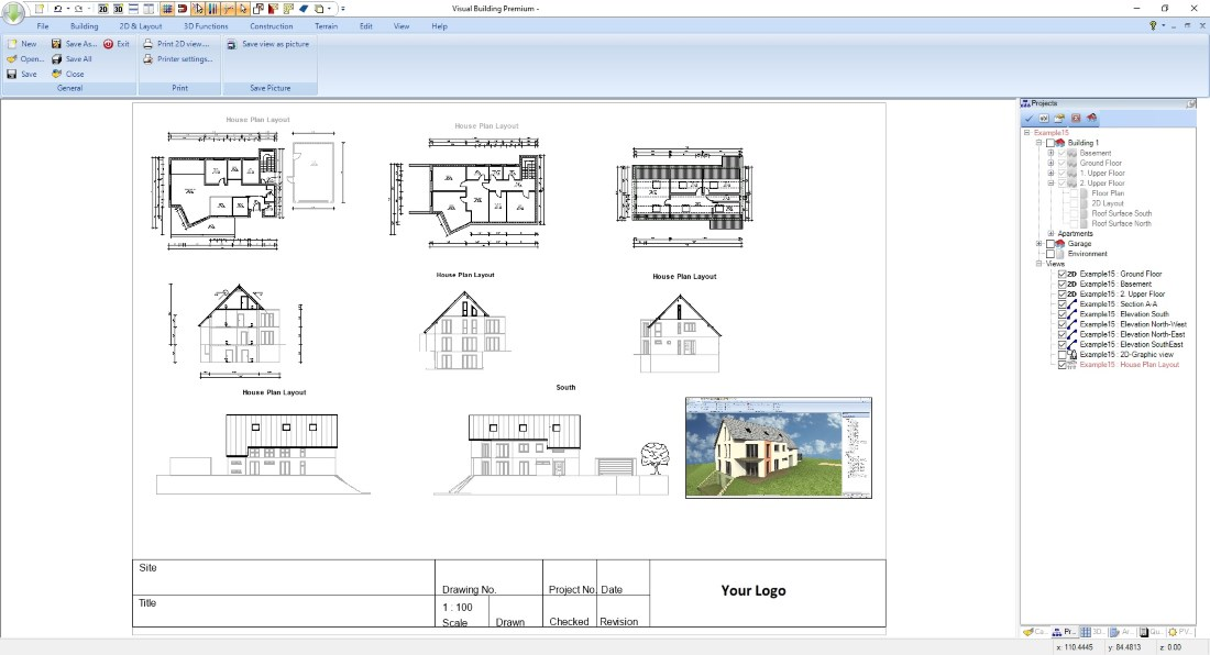 House Plan in Visual Building with multiple drawings