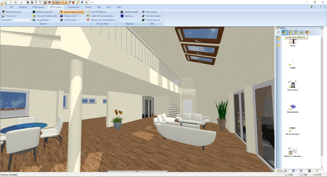 Loft conversion with raytracing
