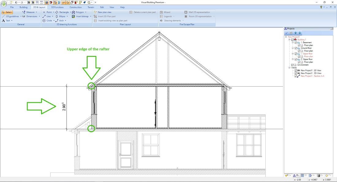 Measure your roof height in a section view