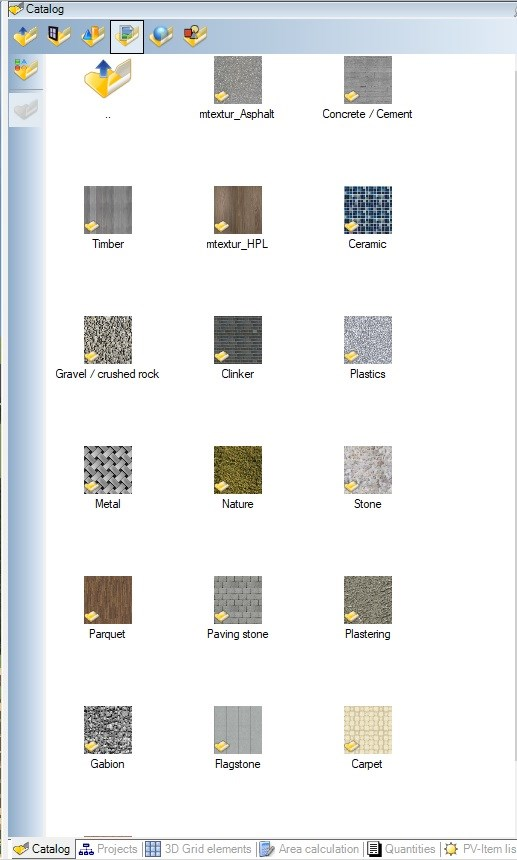 Texture catalog in Visual Building