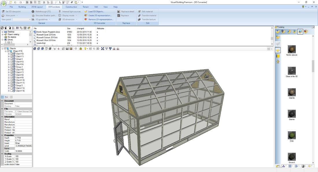Image shows the 3D Converter PlugIn with loaded Sketchup 3D object