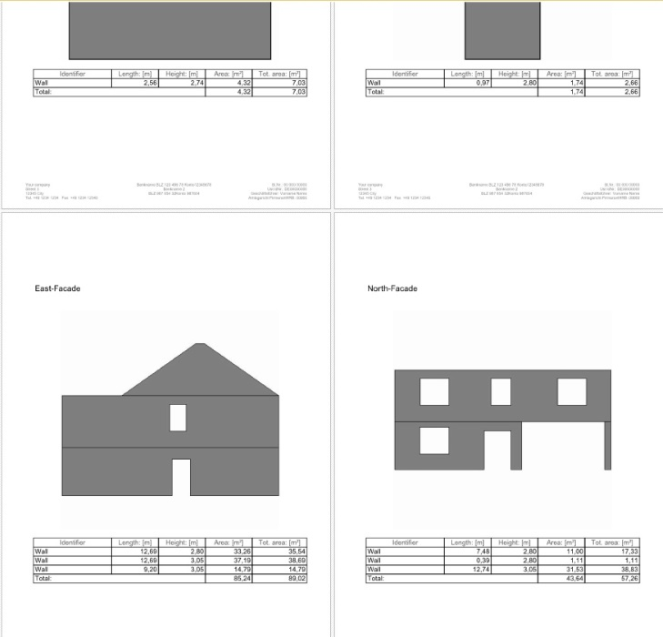 Facade area calculation list with images